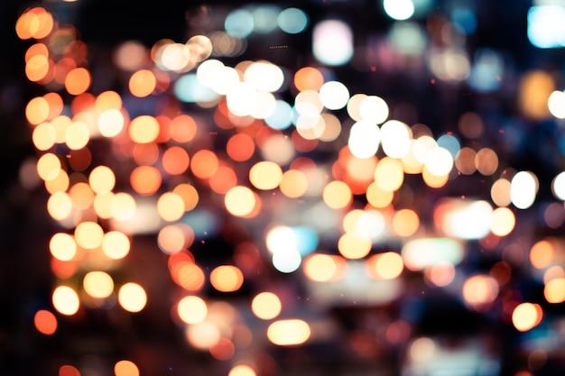 Разноцветные огни боке ночью