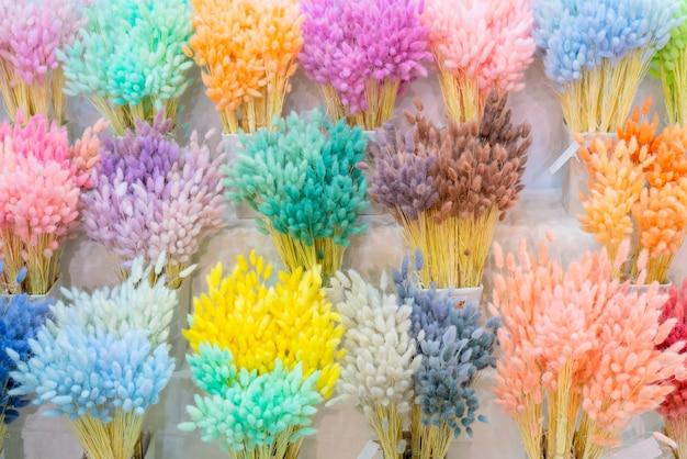 푹신한 귀의 여러 가지 빛깔의 꽃다발. 자연 배경입니다.