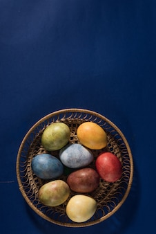 Multi-colored bright easter eggs. easter eggs top view