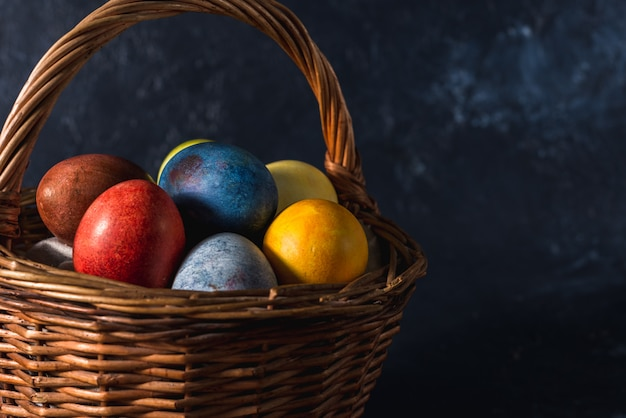 Multi-colored bright easter eggs. easter eggs