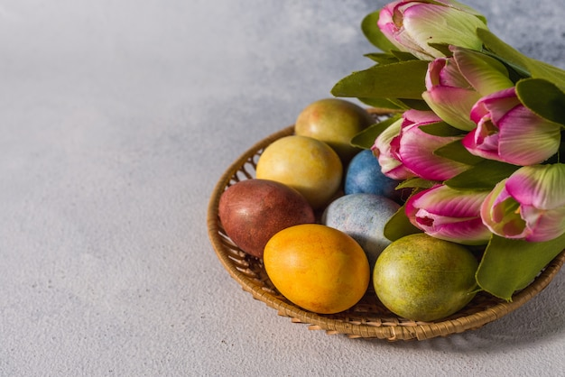 Multi-colored bright easter eggs. easter eggs.