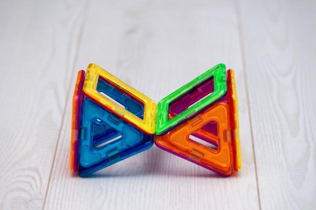 Multi-colored children's plastic magnetic designer or constructor.