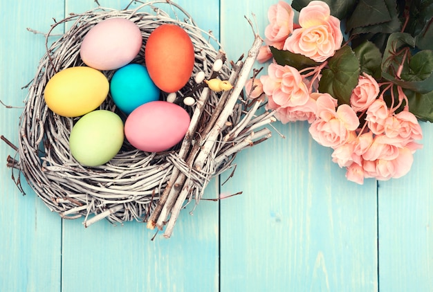 Multi colored eggs in the nest