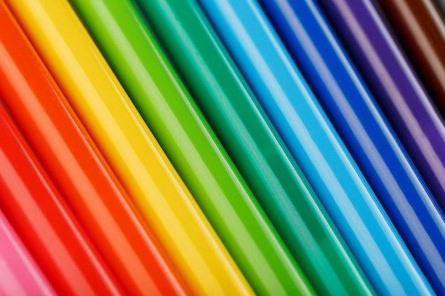 Multi-colored felt-tip pens, markers on white isolated