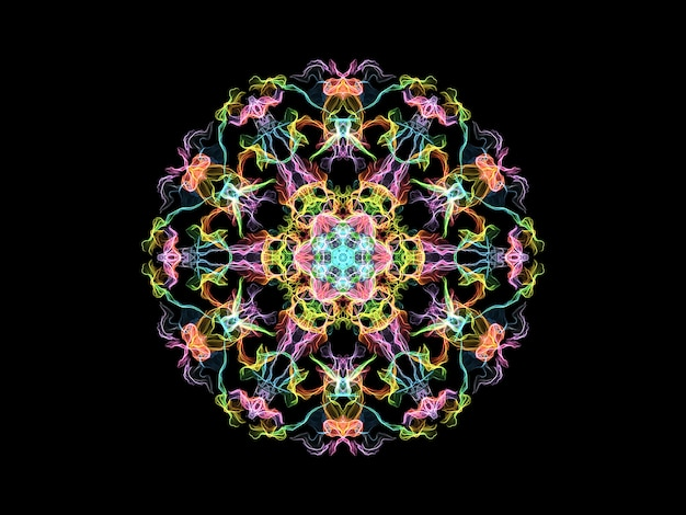 Multi colored flame mandala flower, ornamental round pattern on black background.