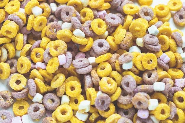Multi colored fruit loops background close up