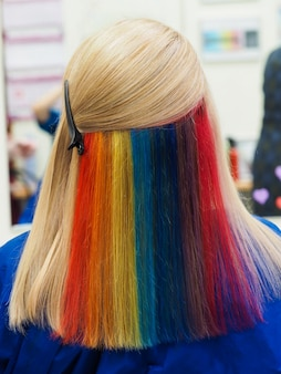 Multi-colored hair. colored staining of the hair.