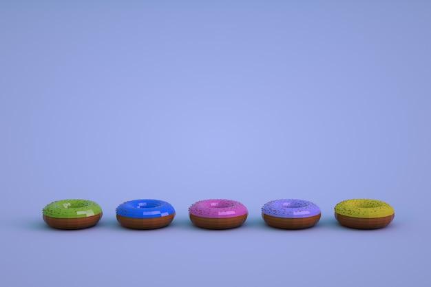 青い孤立した背景上の艶をかけられたドーナツのマルチカラーアイソメトリックモデル。さまざまなドーナツが一列に並んでいます。 3dグラフィックス。
