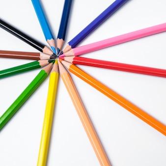 흰색, 색상 팔레트에 멀티 컬러 연필