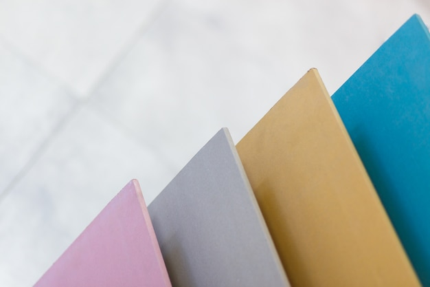 Multi-colored samples of plasterboard