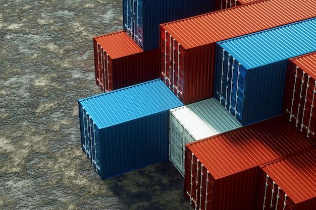 Разноцветные морские контейнеры, промышленный порт с контейнерами, грузовые контейнеры. концепция логистики, быстрая доставка. 3d-рендеринг, 3d-визуализация, 3d иллюстрации.
