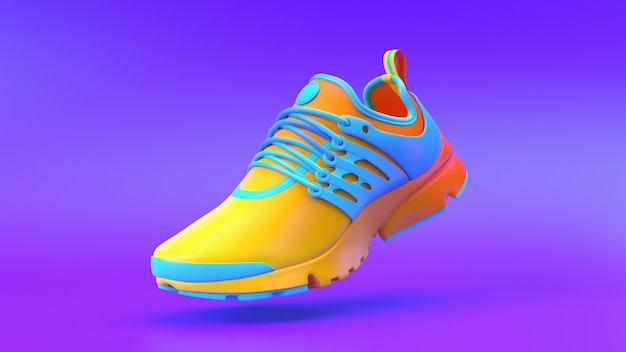 Multi-colored shoe on gradient background, 3d rendering.