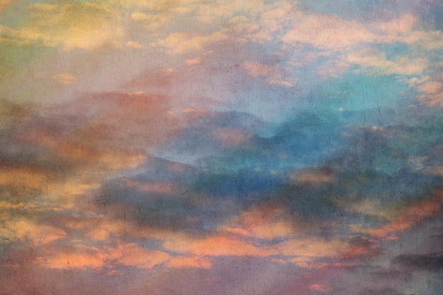 Multi colored sky retro grunge - old postcard style