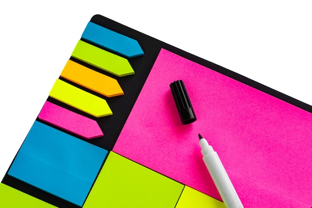 Multi-colored stickers for notes of different sizes and shapes with a marker.