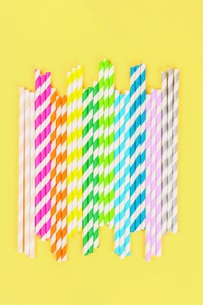 Multi-colored straw paper tubes. top view