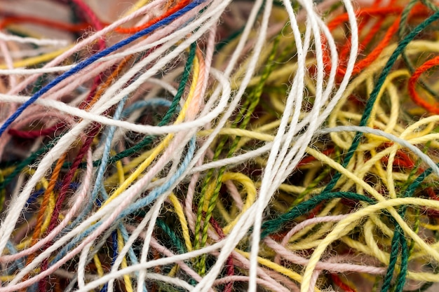 Multi-colored tangled colorful needlecraft silk thread rope