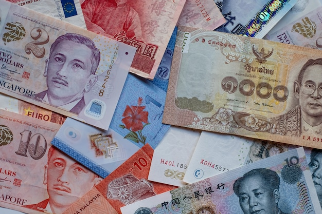 Multi-country banknotes background.