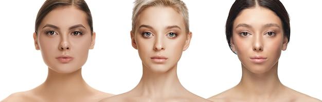 다민족 아름다움. 다른 민족과 흰색 배경에 고립 된 아름 다운 젊은 여성. 광고 전단지. 아름다움, 패션, 건강 관리, 스킨케어의 개념. 인종 간 및 다문화주의.