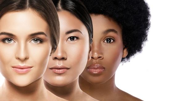 多民族の美しさ。さまざまな民族の女性-白人、アフリカ人、アジア人。