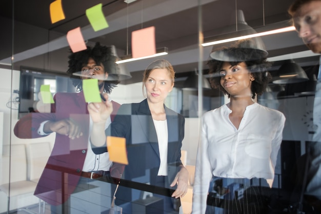 Multi-ethnic business team brainstorming
