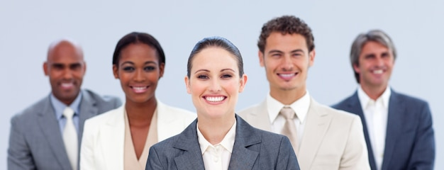 Multi-ethnic business team standing