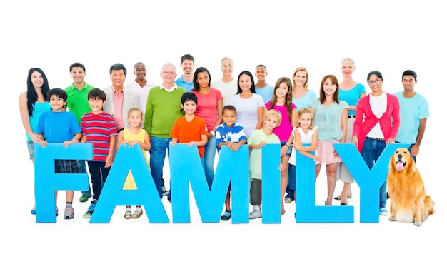 Multi-ethnic group of people holding