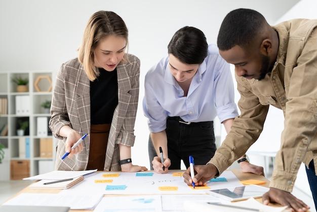 Специалисты по многоэтническому маркетингу стоят вокруг стола и добавляют новые идеи на доску творческого плана