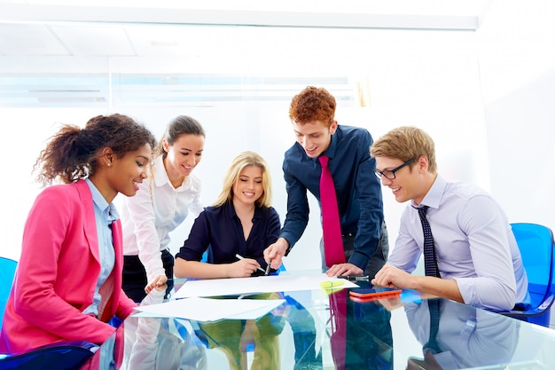 Multi ethnic teamwork of young business people