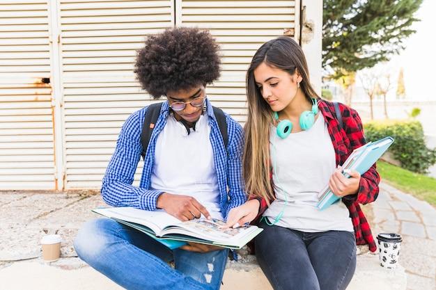 多民族の若いカップルが公園で一緒に勉強