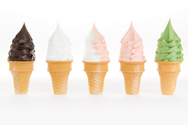 Multi flavor ice cream cones