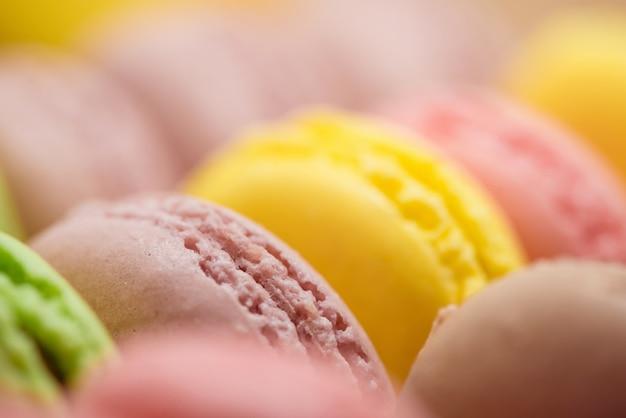 Multi-flavoured macarons. macro photo