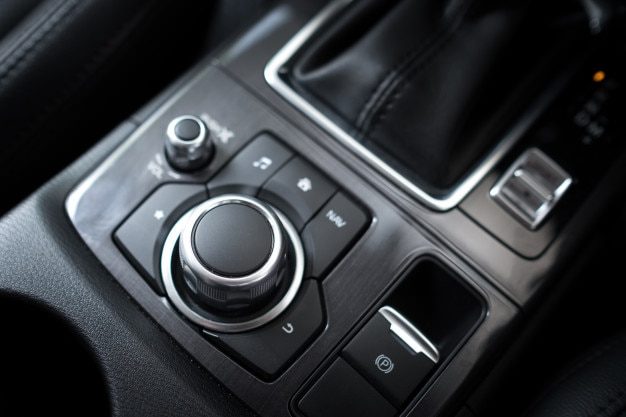 Multi function buttons and audio buttons in a modern car