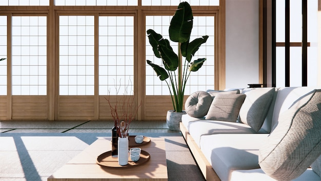 Многофункциональные идеи, дизайн интерьера японской комнаты. 3d рендеринг