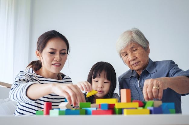 Multi-generation женские члены семьи играют деревянные кубы цвет