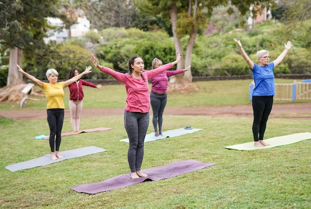 都市公園でヨガの練習をしている多世代の女性-多民族の人々とスポーツの概念