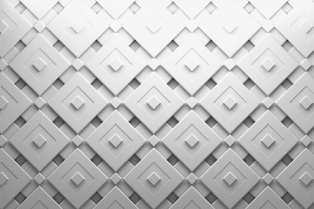 Multi layered pattern with rotated squares and grooves in white gray color