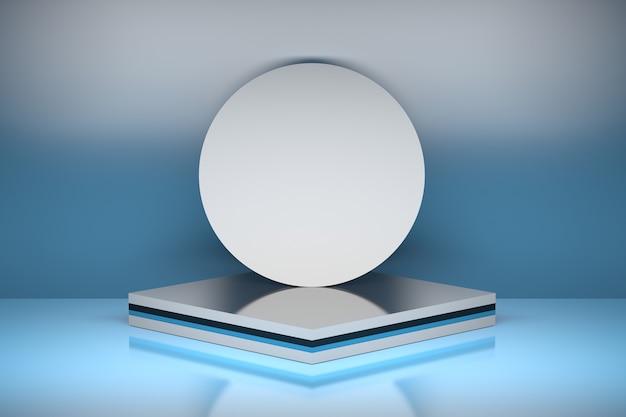 파란색 배경 3d 일러스트 레이 션에 광택 표면 위에 누적 된 사각형에 둥근 원이 다중 계층 받침대