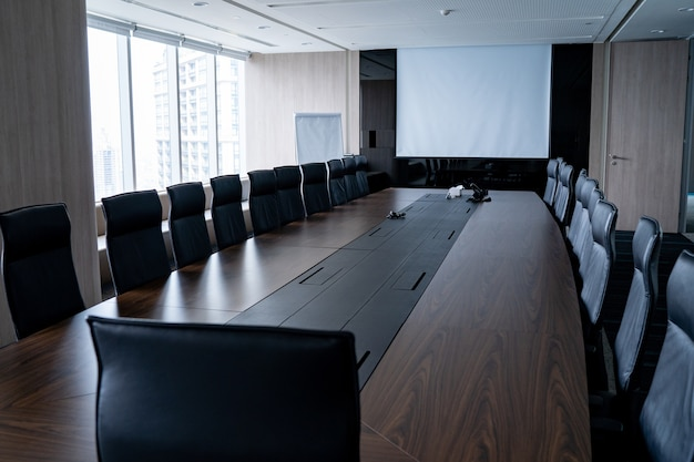 Multi person meeting room and comfortable chair is neat and tidy