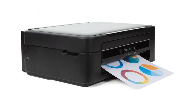 Multi purpose home printer isolated on white background