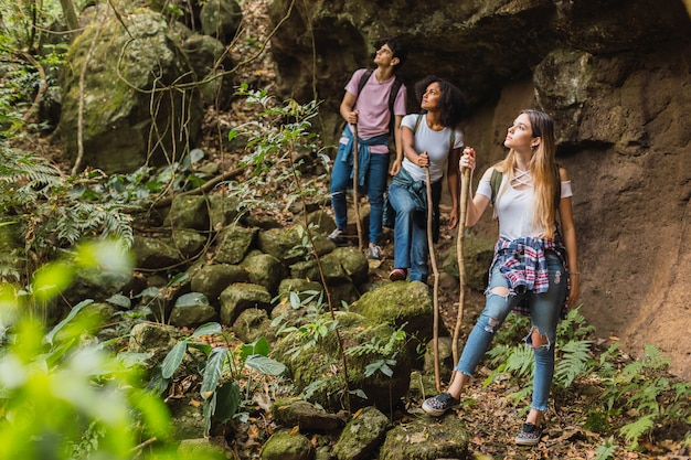 Multi-racial friends hiking and looking far away - multi-racial friends group enjoying nature while hiking.