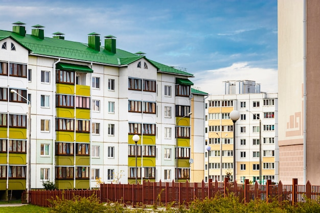 Multi-storey modern residential building. housing construction. residential fund. mortgage loans for young families.