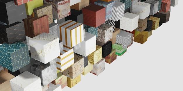 다중 표면 큐브 임의 분포 배경 3d 그림
