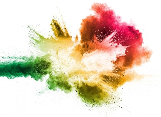 Multi взрыв порошка цвета на белой предпосылке.
