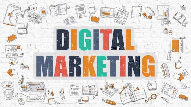 여러 가지 빛깔의 개념-디지털 마케팅-주위에 낙서 아이콘이 있는 흰색 벽돌 벽에. 낙서 디자인 스타일과 현대 그림입니다.