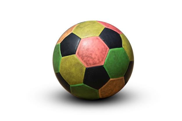 白い背景で隔離の多色サッカー