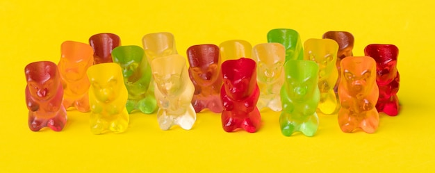 Multicolor fruit gummy candy in the form of a grizzly bear