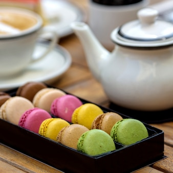 Multicolor macarons on the table