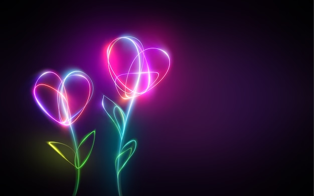 Multicolor neon light drawing of abstract heart shape flowers
