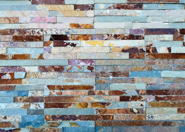 Multicolor old and grunge brick wall. vintage background