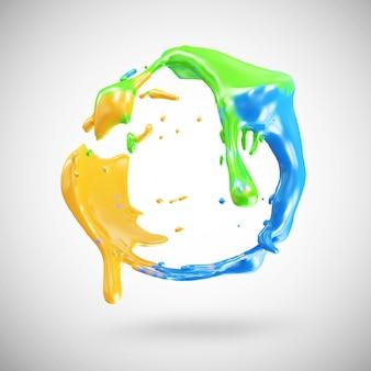 Многоцветный всплеск краски в 3d-рендеринге
